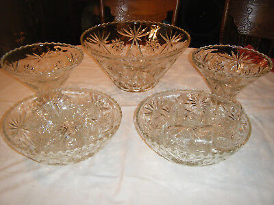 Vintage ANCHOR HOCKING Early American Prescut Glass PUNCH BOWL SET 1 large Bowl