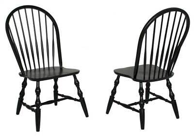 Windsor Spindleback Dining Chair in Black - Set of 2 [ID 3471413]
