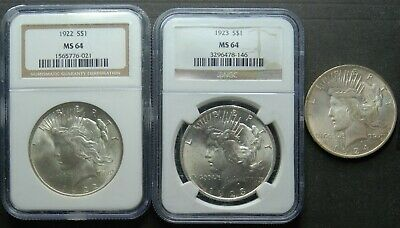 1922,1923,1924 Peace Silver Dollars, NGC MS-64 and UNC, 3 Coins, Free Shipping