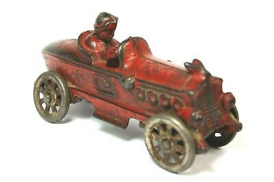 EARLY 1900's  A.C. WILLIAMS CAST IRON RED BOB TAILED RACE CAR HUBLEY ARCADE