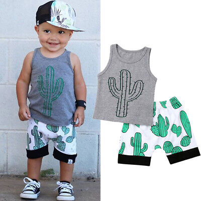 AU Toddler Baby Boy Casual Clothes Cactus Tops T-Shirt Shorts Summer Outfits Set