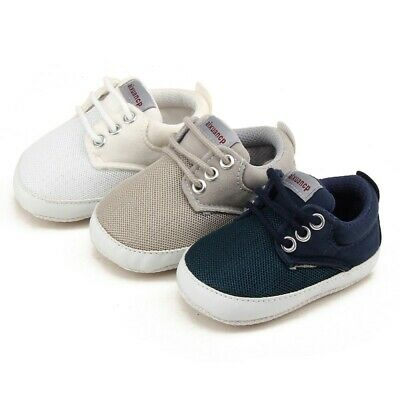 Newborn Baby Boy Girl Pre-Walker Sole Pram Shoes Trainers 0-18 Months White