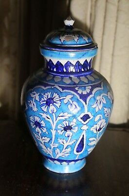 Antique Islamic Multan Multanware Persian Glazed Pottery lidded urn 15""