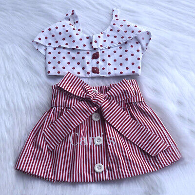 AU Summer Toddler Baby Girls Clothes Ruffle Tops Bow-knot Stripe Dress Outfits
