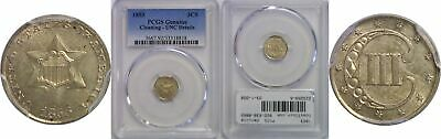 1853 Silver Three Cent Piece PCGS Genuine UNC Details