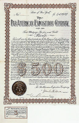 PAN AMERICAN EXPOSITION COMPANY Signed Antique 1900 $500 Gold Bond Certificate