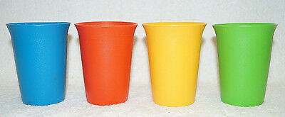 4 Tupperware Tumbler Drink Cup Small Size 6oz 109 yellow green blue red Set Lot