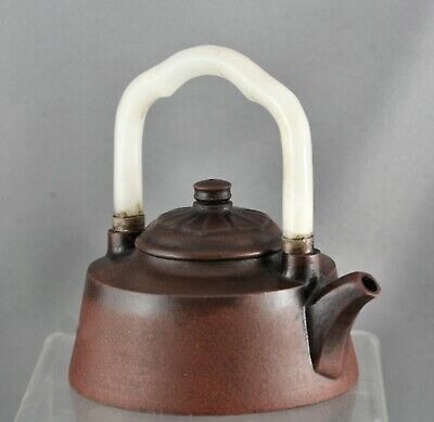 Important Qing Dynasty Yixing Teapot Hetian Jade Handle Made By Master c1820s