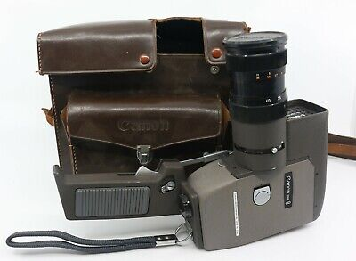 Vintage Canon Zoom 8 Super 8mm Movie Camera and Leather Case. 1950s / 1960s