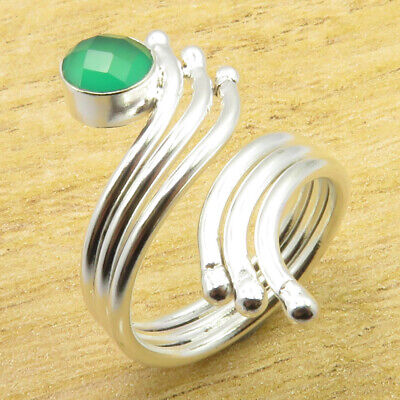 9.25 Size, Flexible Ring ! STUNNING Green Onyx Silver Plated Jewelry BRAND NEW