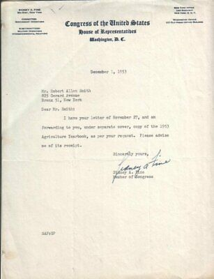 Sidney Fine Autographed Letter 1953 New York Lawyer / Politician D.82