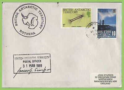 British Antarctic Territory 1989 Rothera, Postal Officer signed cachet cover