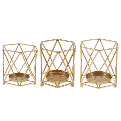 3D Geometric Tabletop Candle Holder Metal Tea Light Home Decor Candlestick