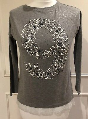 Miss Grant Girls Silver/Grey Long Sleeve Top With Lace & Crystal 9 Design 9 Yrs