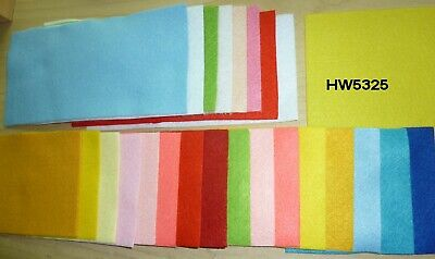 20 Pieces of Felt 2@18x18cm 10@18x9 8@9x9 Range of colours HW5325