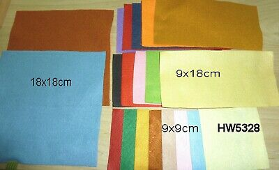 18 Pieces of Felt - 2@18x18cm; 10@18x9; 8@9x9 Range of colours HW5328