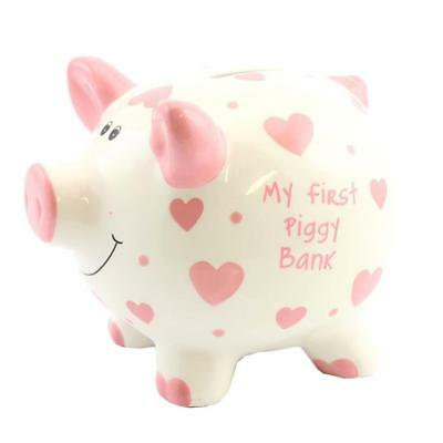 'My First Piggy Bank' MINI Money Box White with Hearts 12cm - Pink