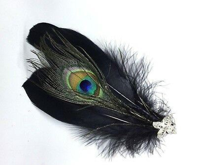 Black & Silver Feather Fascinator Headpiece Wedding Party Hair Clip Vintage