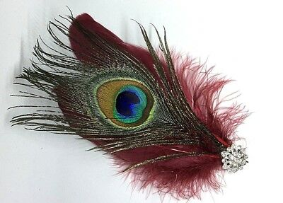 Red  Cranberry Silver Feather Peacock Eye Fascinator Headpiece Hair Clip Vintage