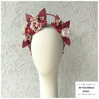 Ladies Pink Tones Floral Headband Fascinator Halo Races