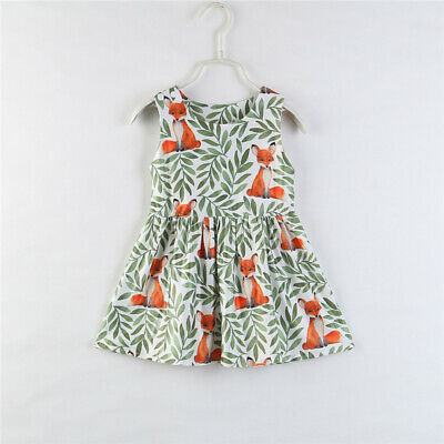 US Toddler Kids Baby Girl Sundress Carton Fox Dress Pageant Party Dresses Summer