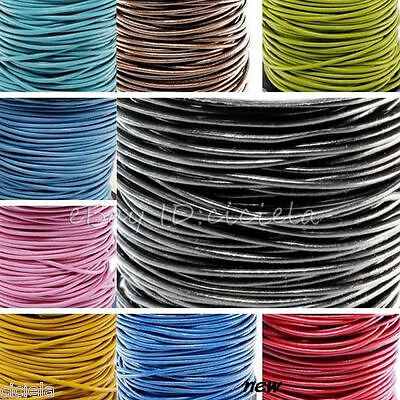 3/10/100 Meter Leather Necklace Charms Rope String Cord 1.5/2.0 mm Any Color