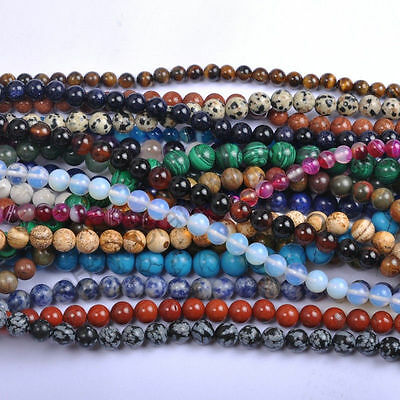 Lot Natural Gemstone Loose Round Spacer Beads For DIY Bracelet Jewelry Making