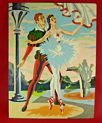 PAINT BY NUMBERS~MID-CENTURY~BALLET DANCERS~12 X 16~PAINTING~RETRO~SURREAL~pbn5