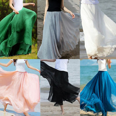 7d9e5d57fa Womens Ladies High Waist Pleated Long Maxi Skirt Full Length A-Line Dress  Size