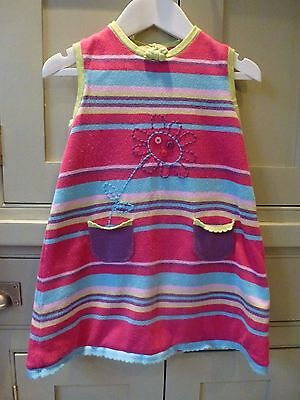 Funky girls pink/lime cotton jersey shift dress age 4-5 excellent cond
