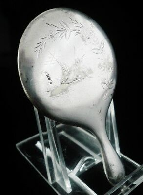 Aesthetic Silver Plated Miniature Hand Mirror c.1890