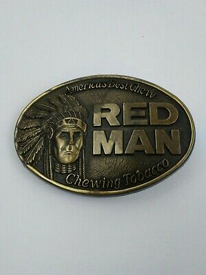 Vintage 1988 Belt Buckle Red Man Chewing Tobacco America's Best Chew