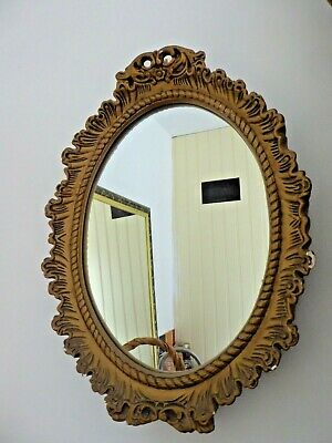 Vintage Shabby Chic Ornate Rococco Gold Plaster Oval Wall Mirror