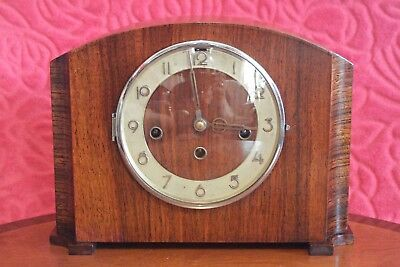 "Periods & Styles Steady 1930's Art Deco Junghans Brass Mounted ""odeon"" Cased Square Cast Dial 15 Day Clo Art Deco"