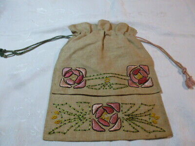 Vtg / Antique Arts & Crafts Movement Mission Style  Embroidered Pouch Bag
