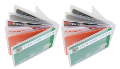 2 Clear Plastic 6 page Insert Credit Card Holder Bifold Wallet US SELLER