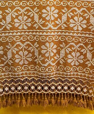 Embroidered Wool Rebozo Shawl Dyed W/ Marigold Petals Artisan Made in Mexico