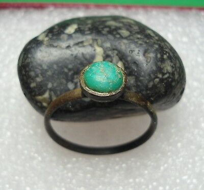 Ancient Roman Bronze Ring with Green stone Original Authentic Antique Rare R534
