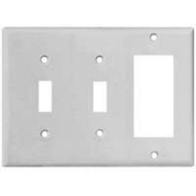 Cooper Wiring 2173W-BOX 3 Gang 2 Toggle And Decorator Plate, White