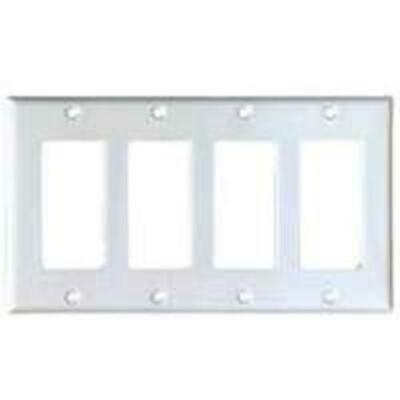 Cooper Wiring PJ264W 4-Gang Decorator/Gfci Wall Plate With White Finish, Mid-siz