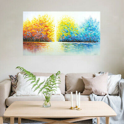 Abstract Hand Painted Art Oil Painting Canvas Modern Home Decor Framed Trees