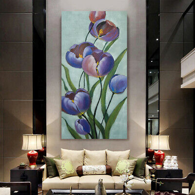 Hand Painted Modern Art Canvas Oil Painting Ready to Hang Wall -Abstract Tulip