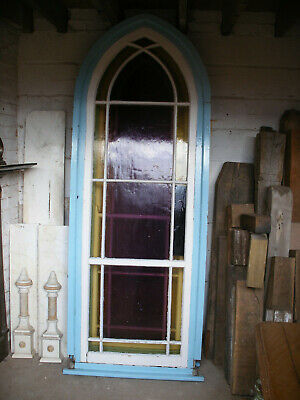Reclaimed gothic arched stained glass windows