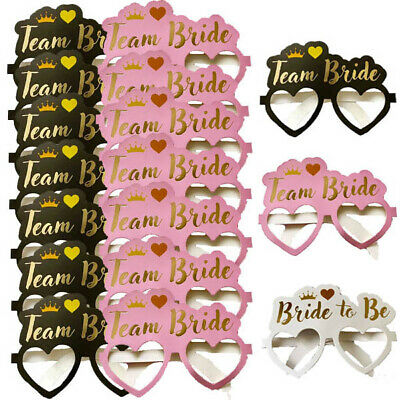 3 Designs - Team Bride To Be Hen Party Card Glasses Accessories Photo Props