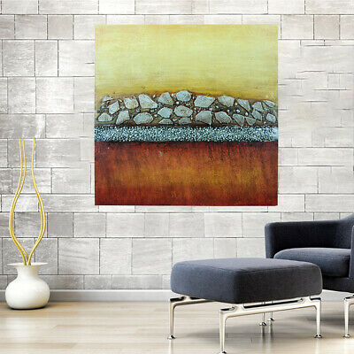 *Golden Wall* Hand Painted Oil Painting On Canvas Abstract Home Decor Art Framed