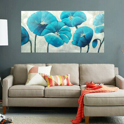 Abstract Hand Painted Art Canvas Oil Painting Home Decor Framed - Blue Flowers
