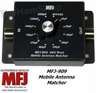 MFJ-909 Mobile Impedance Matcher Capacitor Type, 10-80 Meters, Handles 600 Watts