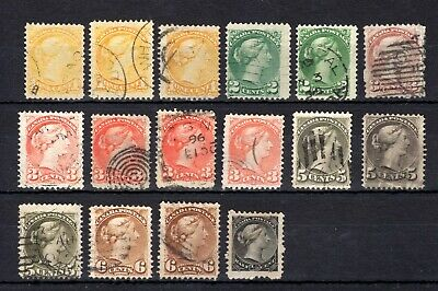 CANADA QV SMALL QUEENS GOOD TO FINE USED RANGE x 16 STAMPS NOT CAT OR CHECKED