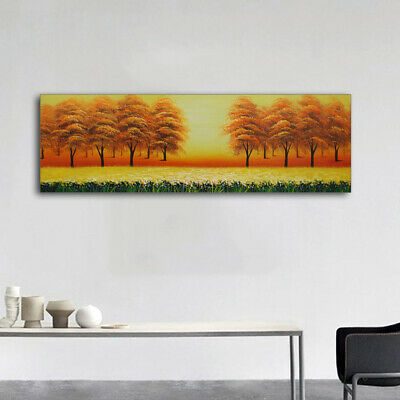 Modern Abstract Oil Painting Canvas Tree Wall Art Decor Hand Paint Framed Lake