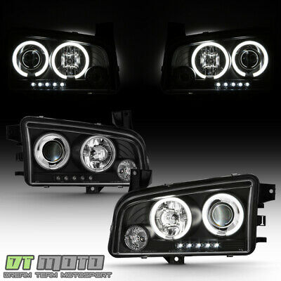 For Twin CCFL Halo LED 06-10 Dodge Charger Projector Headlights Blk Head Lights